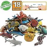 Meerestier, 18 Packungen Badespielzeug-Set aus Gummi, lebensmittelgeeignetes Material TPR, super dehnbar, einige Sorten können Farben ändern, Tierwelt, weiche schwimmende Badespielzeuge, Party der Spielzeugfiguren, lebensechter Hai, Krake, Fisch Bad