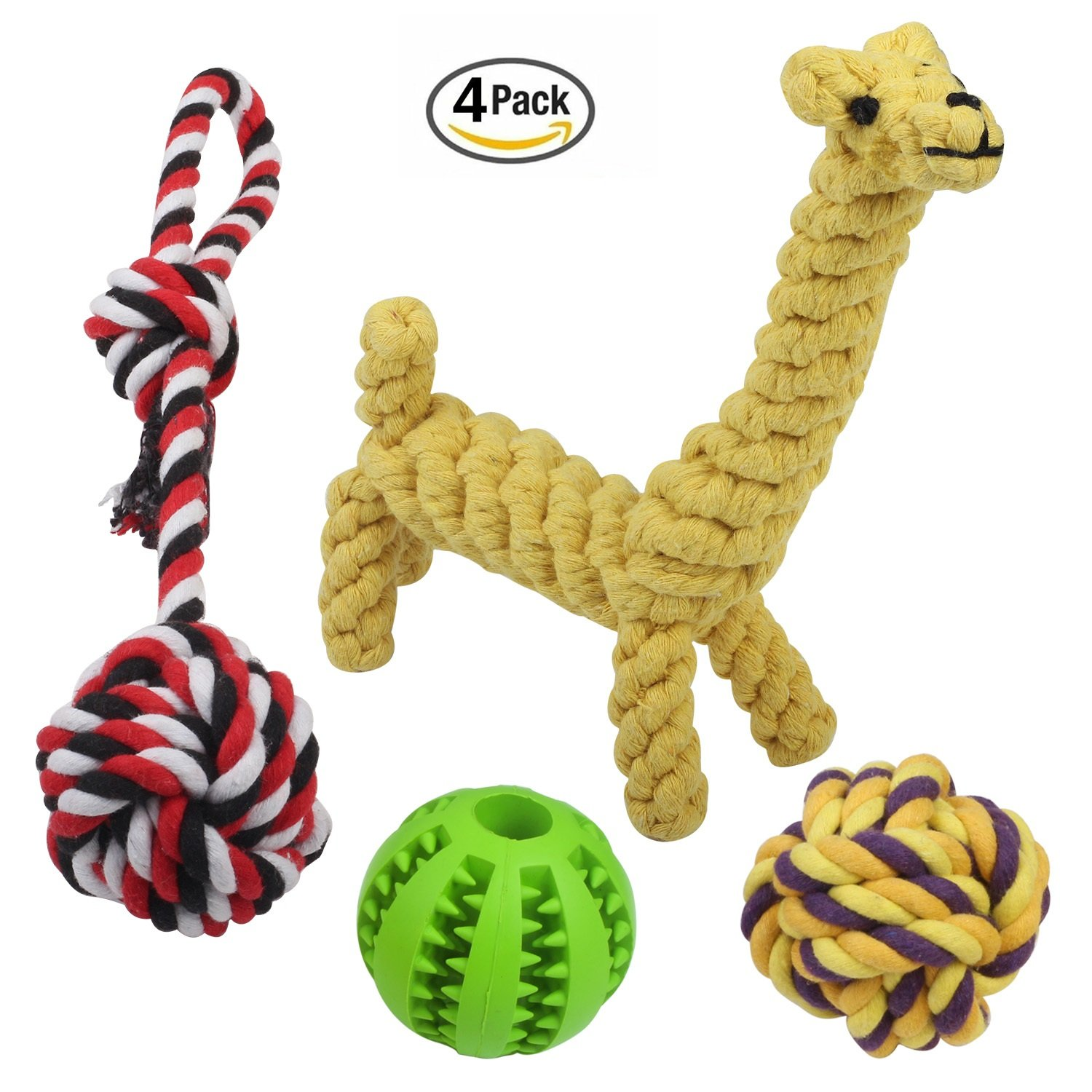 Decyam Durable Dog Toys 4 Pack, Pet Cotton Rope Chew Dog Toys for Small and Medium Dogs