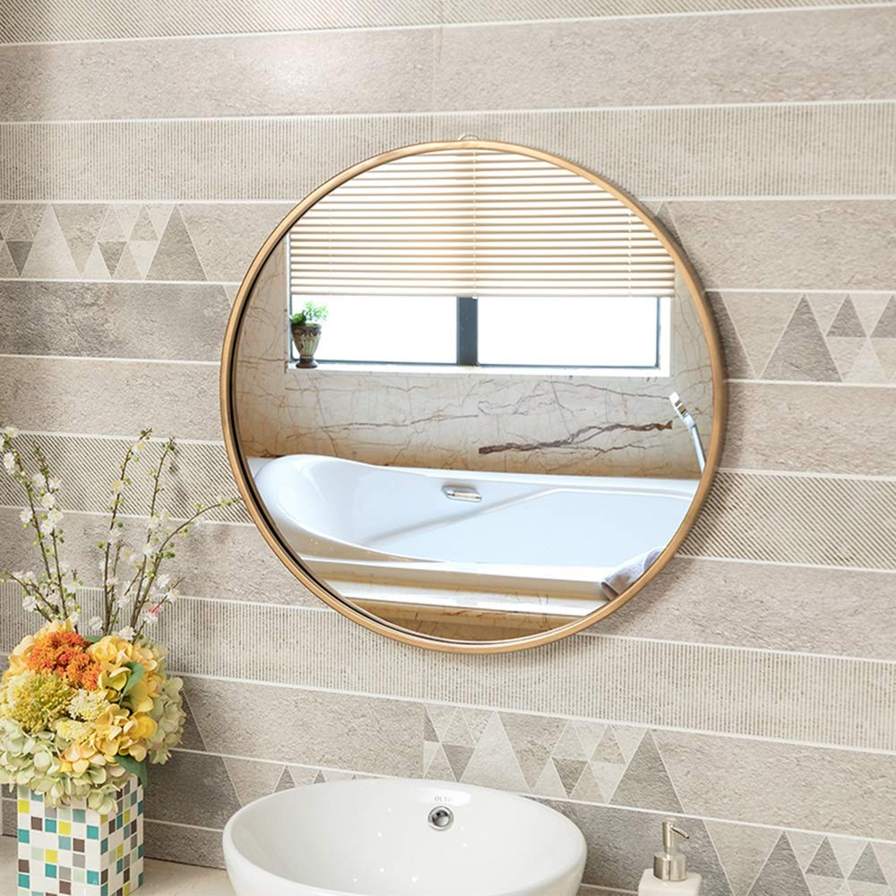 Mirror European Bathroom with Border Makeup Bathroom Wall Hanging Hair Salon Round Hotel Decorative Makeup (Color : Gold, Size : 3030cm) by Mirror (Image #3)