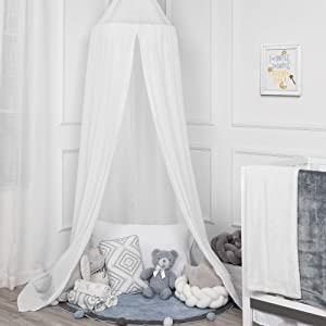 TILLYOU Baby Bed Canopy, Silky Soft Microfiber Canopy for Crib and Toddler Bed, Hanging Game Tent for Kids, Mosquito Net Nursery Play Room Decor,White