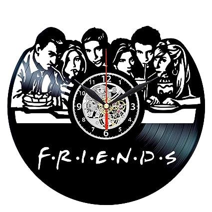 EVEVO Amigos Serie Friends Reloj de Pared Vinilo Tocadiscos Retro de Reloj Grande Relojes Style habitación