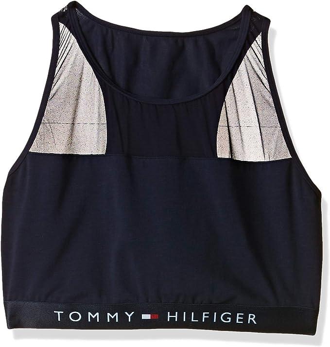 TALLA XS. Tommy Hilfiger Sujetador Deportivo de Estilo Bralette de Algodón y Panel de Malla Rematado y Cuello Redondo para Mujer