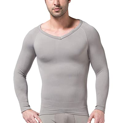 CHARTOU Men's Short Sleeve Slim Fit V-Neck Seamless Compression T-Shirt Tops Undershirts (Grey-Longsleeve, Large): Clothing