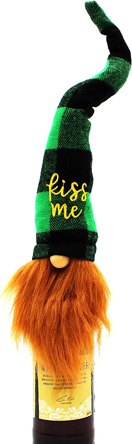 """MeraVic St. Patrick's Day Irish Gnome Bottle Topper - Lucky Gaelic Bearded 16"""" Felt Gnome in Green Tartan Plaid Hat with Kiss Me Embroidered - Spring Decorations Plush - Holiday Home & Gift Decor"""