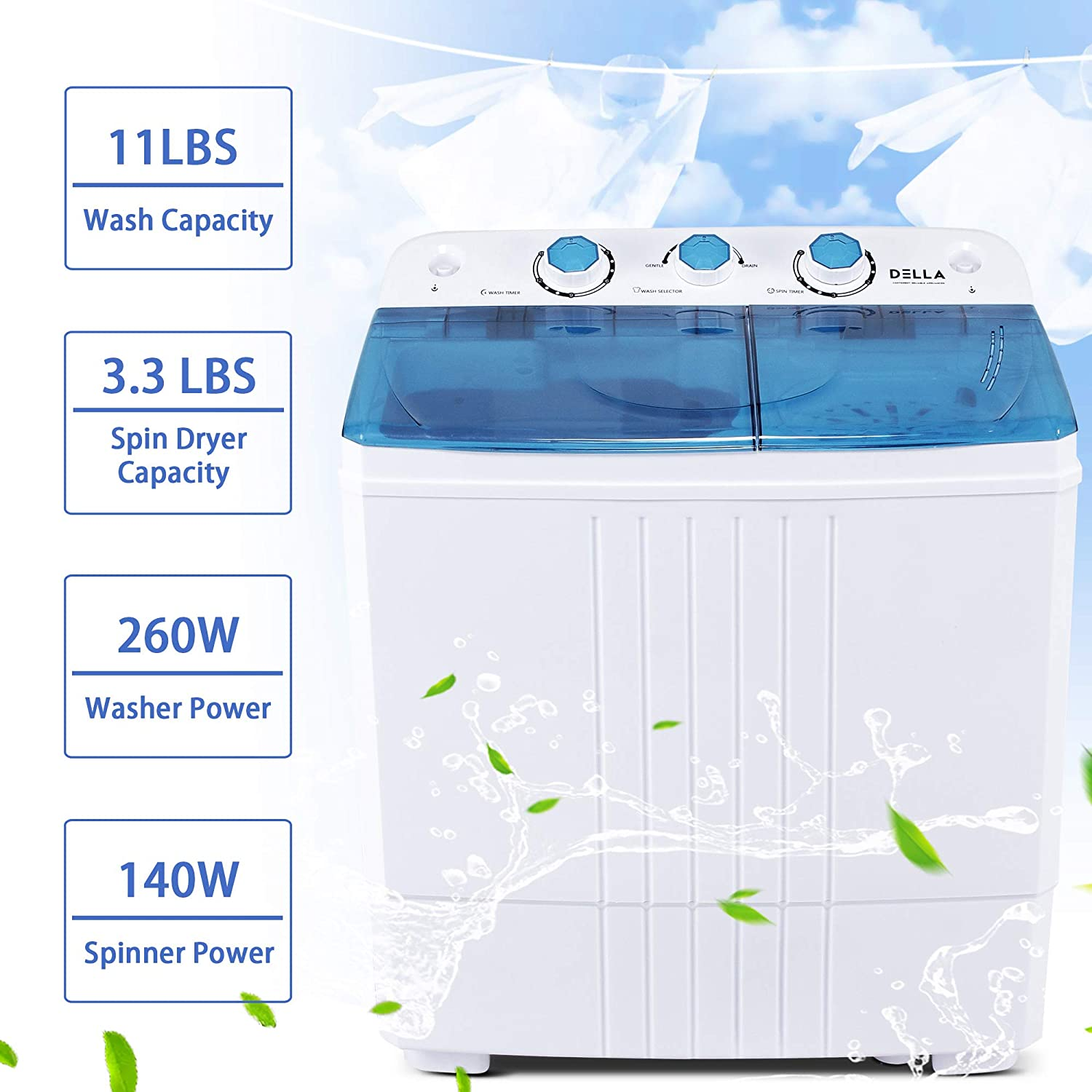 Della Small Compact Portable Washing Machine Top Load Laundry Washer with Spin & Dryer, 11lbs Capacity White Blue