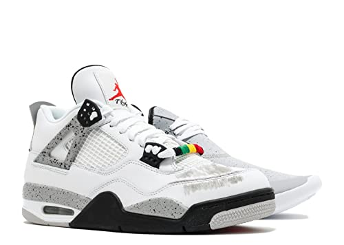 newest ed086 577bd ... coupon code amazon nike mens air jordan 4 retro cement white fire red  black leather basketball