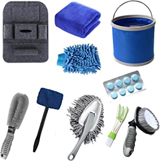 AOVAVO Car Wash Kit, Car Cleaning Kit, 10 Pcs Car Cleaning Accessories Kit with Windshield Cleaning Tool/Water Bucket/Car Washing Towel/Car Back Seat Organiser/Tire Brush/Car Washing Mitt