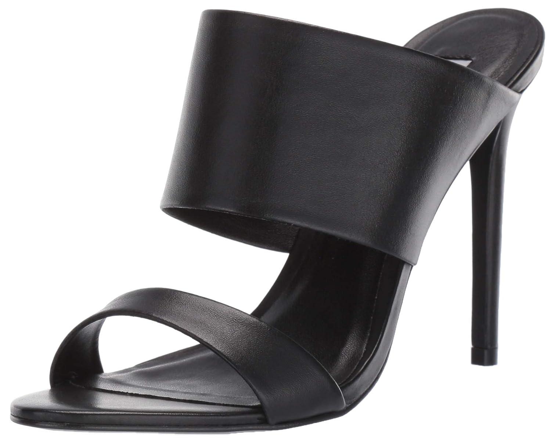 Black Leather Steve Madden Womens Mallory Heeled Sandal