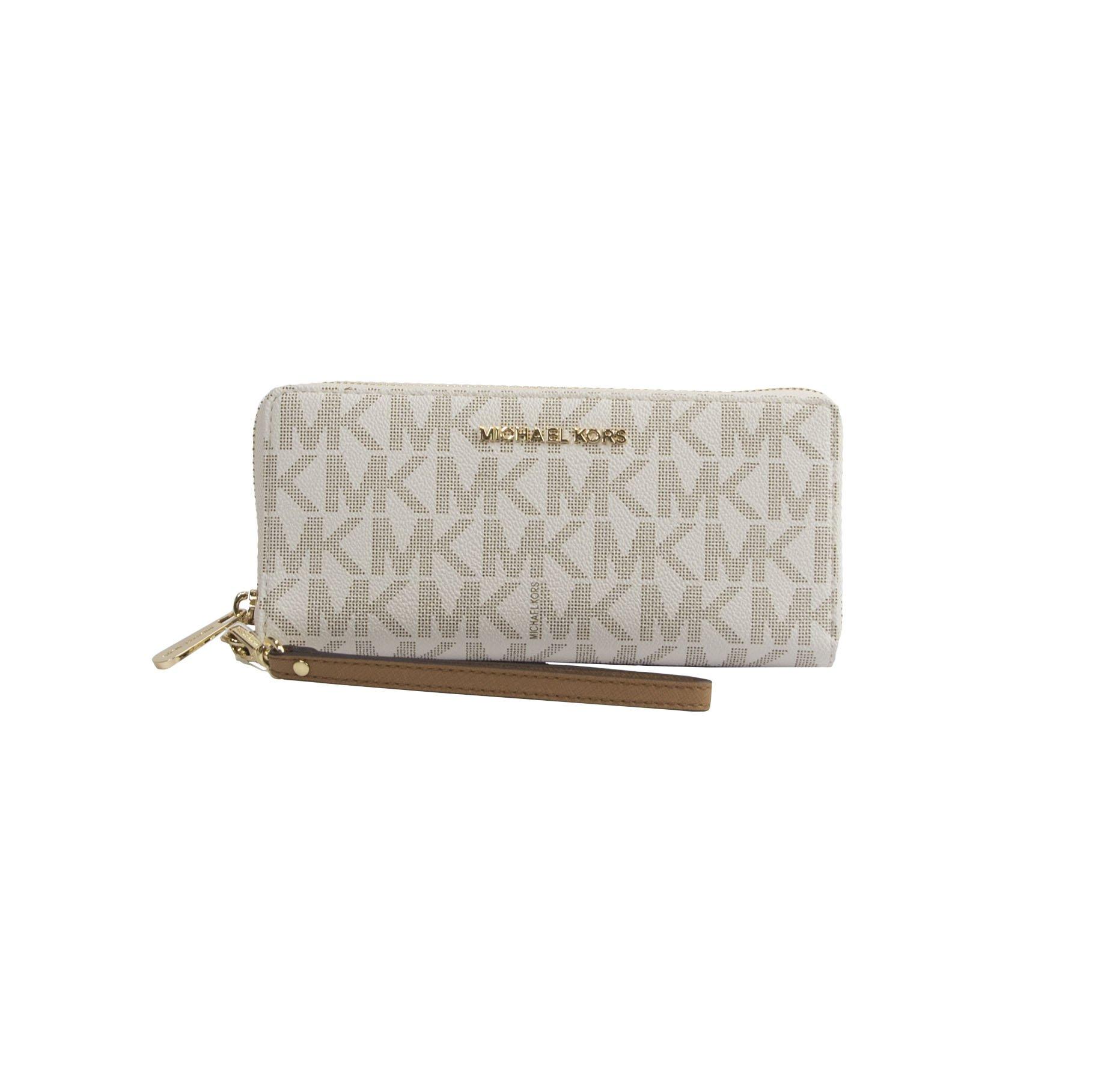 Michael Kors Vanilla Monogram Acorn Leather Large Zip Around Travel Wallet by Michael Kors