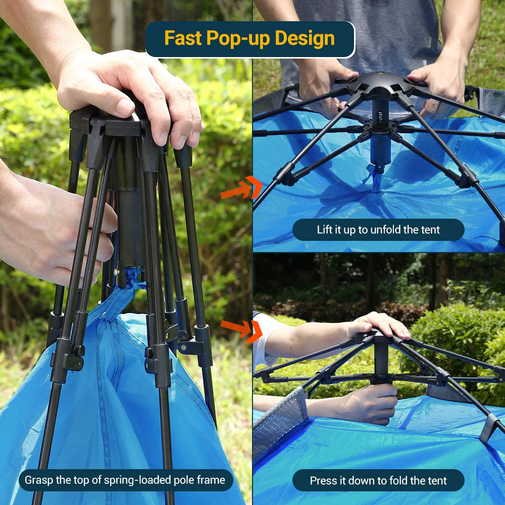 83x94x57inch,240x210x145cm NACATIN 3-4 Person Family Camping Tent,Automatic Instant Pop Up Waterproof PU3000mm 210D Oxford Material Family-Sized Groups Camp Beach Tents