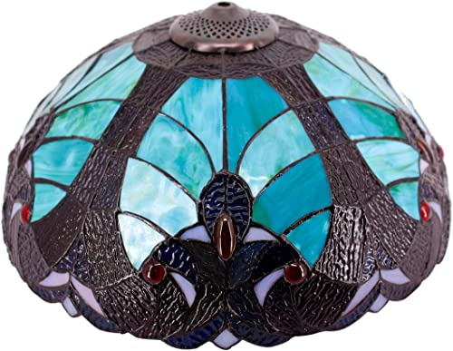 Tiffany Lamp Shade Replacement W16H7 Inch Green Stained Glass Liaison Lampshade