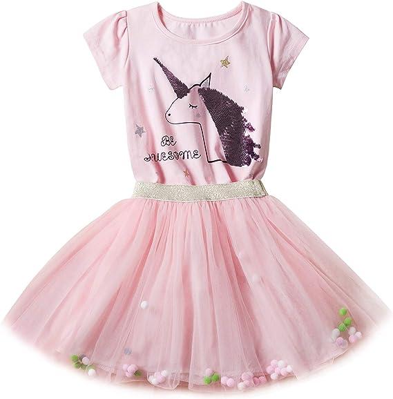 New front Unicornio Vestido Niñas Verano Pentejuela Impreso Top de ...