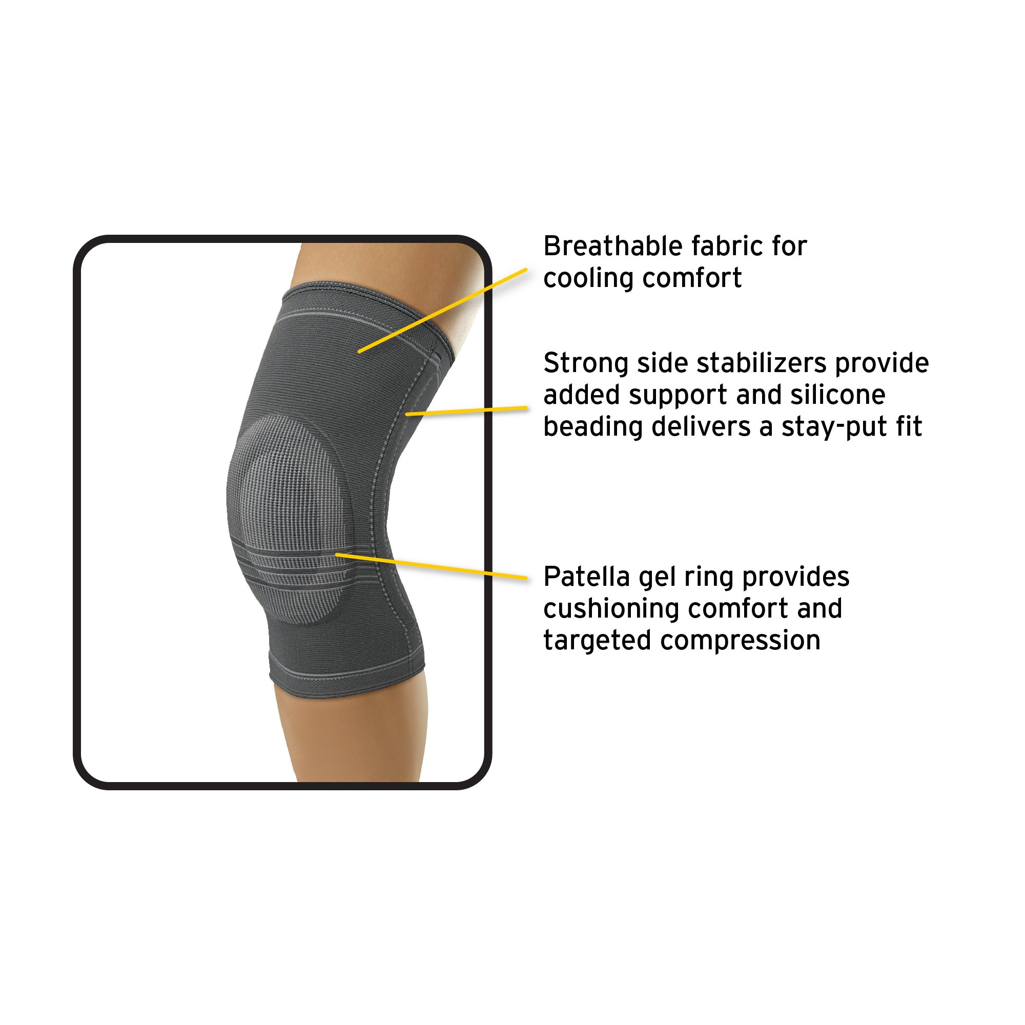 Futuro Active Knit Knee Stabilizer, Provides Support, Moderate Stabilizing Support, Medium, Gray by Futuro (Image #2)