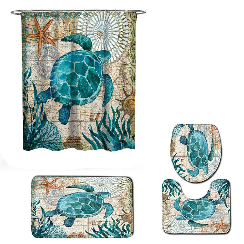 Vacally 4PCs Bathroom Rug Set Sea Style Turtle Octopus Pattern Non Slip Toilet Polyester Cover Absorbent Mat and Shower Curtain Set