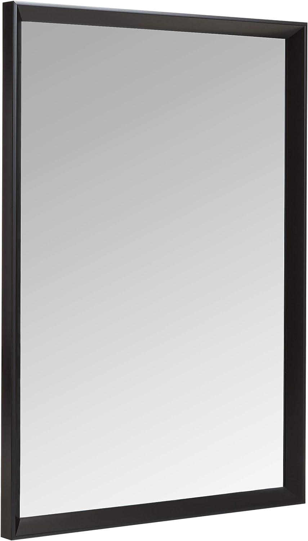 "AmazonBasics Rectangular Wall Mirror - 20"" x 28"", Peaked Trim, Black"