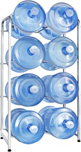 UMORNING 5 Gallon Water Bottle Holder 4-Tier Water Cooler Jug Rack for 8 Bottles Heavy Duty Detachable Kitchen Organization and Storage Shelf