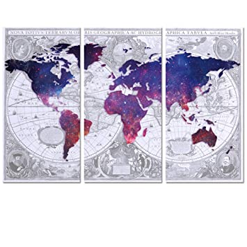 Amazon visual art decor abstract vintage world map double visual art decor abstract vintage world map double images picture galaxy map canvas prints home wall gumiabroncs Choice Image