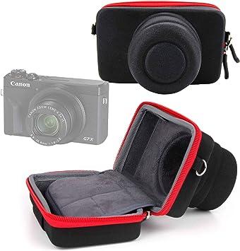 DURAGADGET Funda/Estuche Compatible con Cámara Canon PowerShot G5 X Mark II, Canon PowerShot G7 X Mark III | Roja Y Negra: Amazon.es: Electrónica