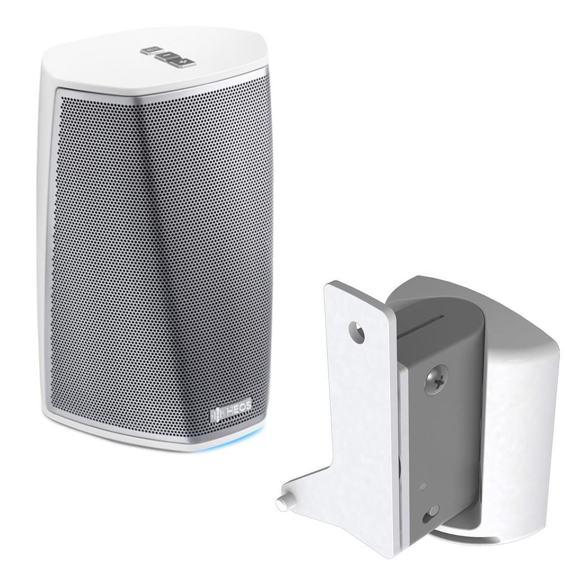 Denon HEOS 1 Wireless Multi-Room Sound System - Series 2 (White) with SoundXtra Wall Mount for Denon HEOS 1 (White)