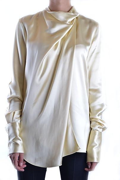 Céline EZBC064006 Mujer Amarillo Seda Camisa  Amazon.es  Ropa y accesorios 6052b262633fe