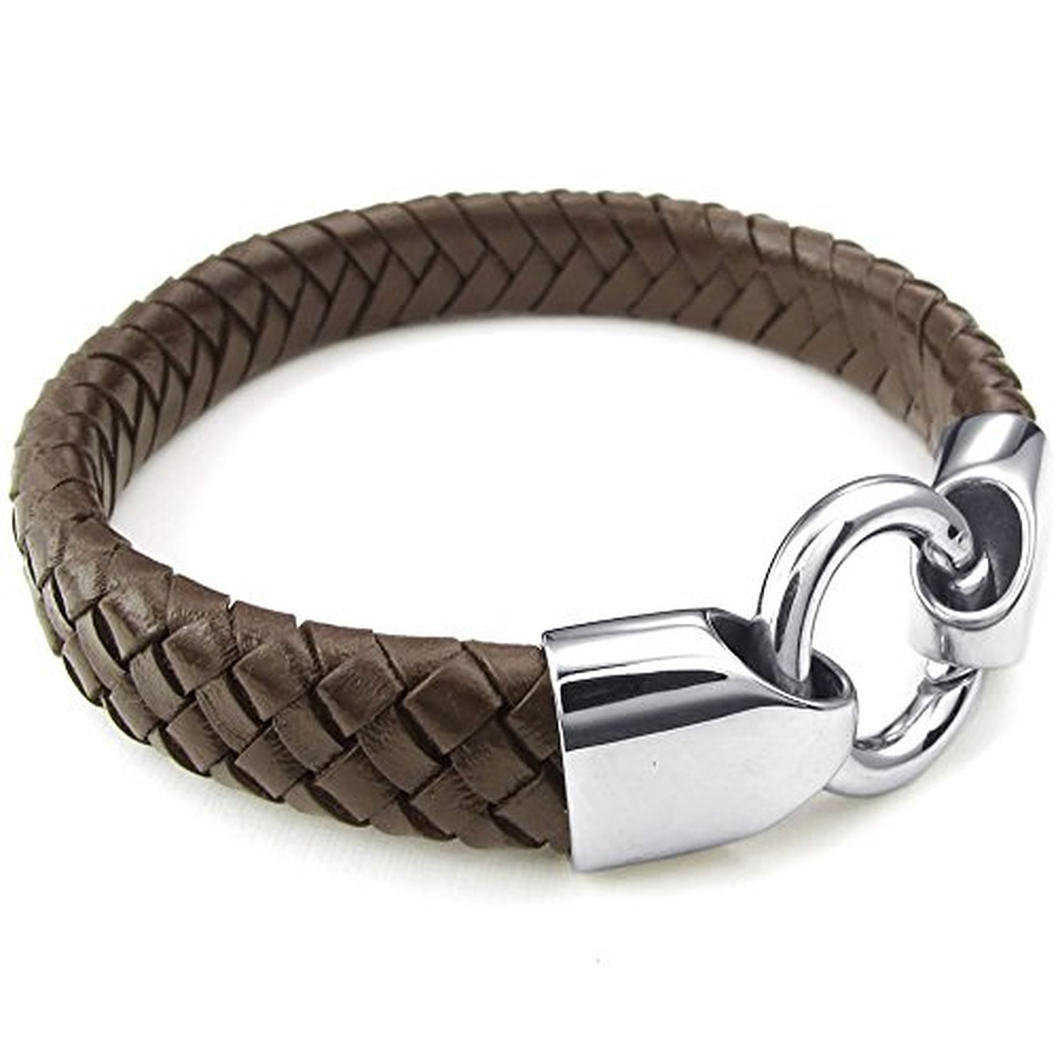9 inch Jewelry Mens Leather Stainless Steel Bracelet 8 Braided Cuff Bangle 8.5