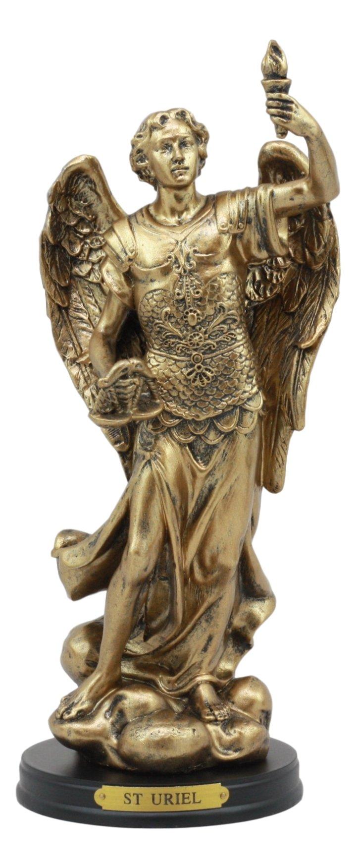 Ebros Catholic Church Archangel Uriel Statue 8'' Tall Saint Uriel The Archangel Figurine With Brass Name Plate Wooden Base