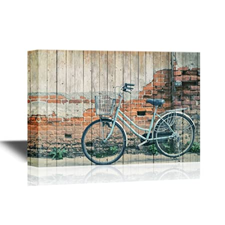 wall26 – Canvas Wall Art – Vintage Bicycle with Old Brick Wall and Copy Space – Gallery Wrap Modern Home Decor Ready to Hang – 24×36 inches