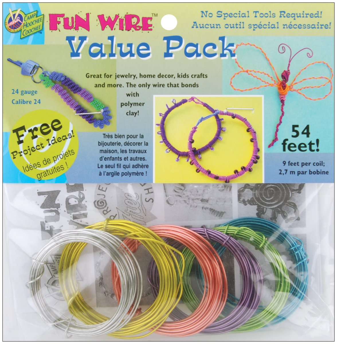 Toner Plastic Coated Fun Wire Value Pack 9 Foot Coils-24 Gauge Translucent 6/Pkg VP84-84492 EP101025823