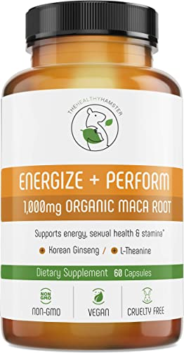 Energy Pills Organic Maca Root – Testosterone Booster with Korean Red Ginseng L-Theanine – Libido Enhancement for Men Women – Gluten-Free Vegan Non-GMO Supplement Capsules