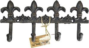 LuLu Decor, Cast Iron Fleur De Lis Key Hook (Key Hook Black)