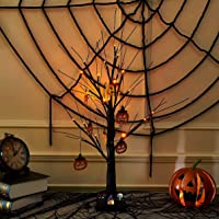 Halloween Decoration, Vanthylit 2FT Black Spooky Tree Glittered with Orange Lights and Pumpkin Decorations Halloween…