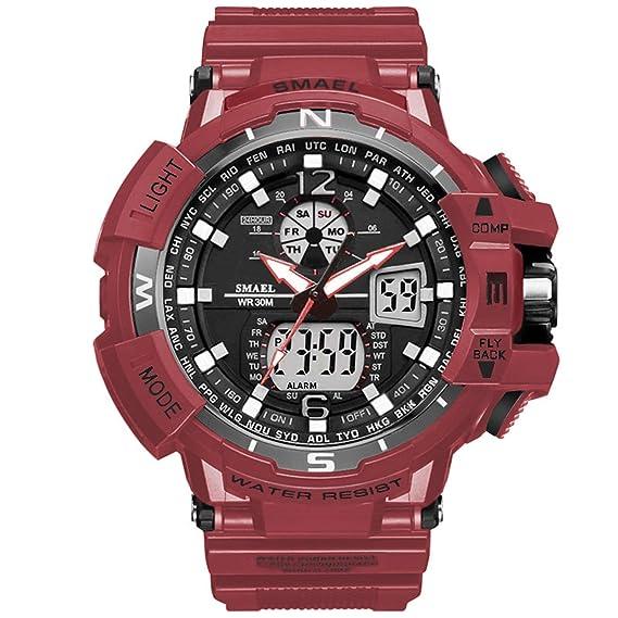 Beydodo Reloj Montañismo Reloj Deportivo Reloj Hombre Relojes LED Reloj Impermeable Reloj Multifunción Reloj de Doble Pantalla Relojes Electronicos Rojo: ...