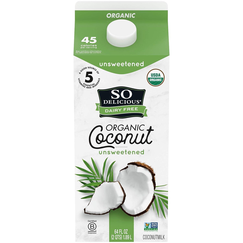 So Delicious Dairy Free Coconutmilk, Unsweetened, Vegan, Non-GMO Project Verified, Half Gallon