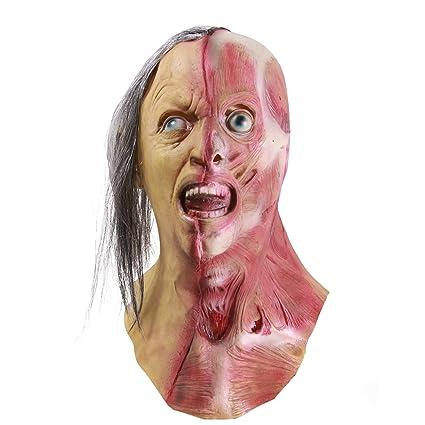 Amazon.com: Molezu Horror Half Face Man Mask, Halloween Novelty Scary Men Left Half of Face Mask, Costume Party Latex Zombie Mask: Clothing
