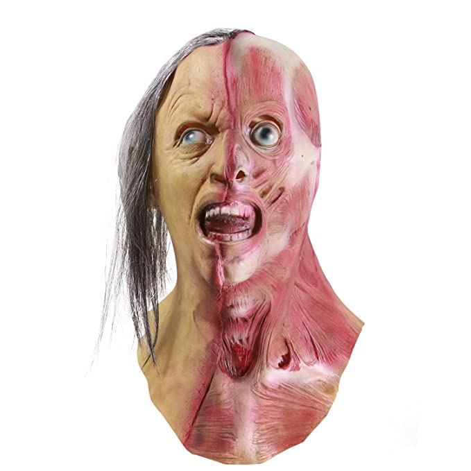 Molezu Horror Half Face Man Mask, Halloween Novelty Scary Men Left Half of Face Mask