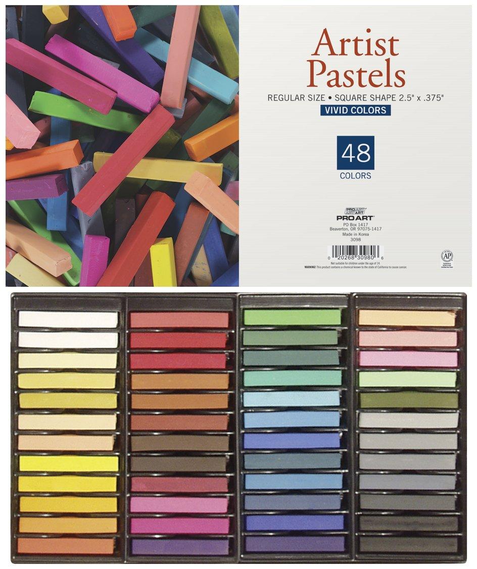 PRO ART Square Artist Pastel Set, 48 Assorted Colors by PRO ART