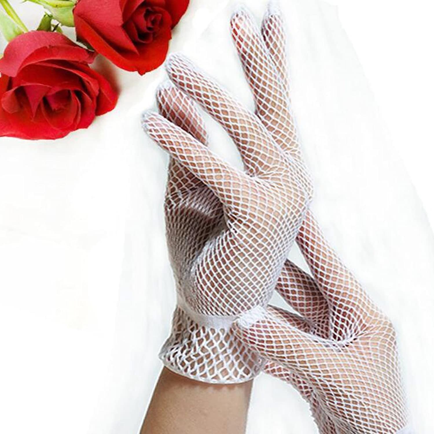 Edwardian Style Clothing 1 Pair Fishnet Mesh Gloves Fashion Women Gloves Summer UV Protection Lace Glove White $2.11 AT vintagedancer.com
