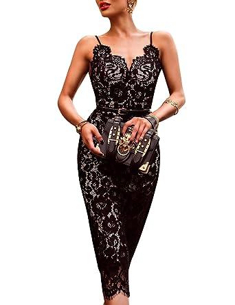 cdf0ea260ec Hego Women s Black Sleeveless Bandage Lace Dress Mini H5318 (Black ...