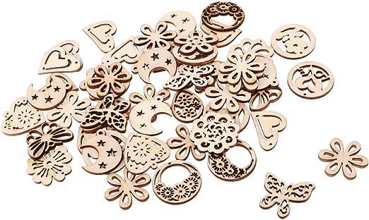 50-100pc DIY Cutting Love Heart Shape Wood Piece Decorative Embellishment Supply