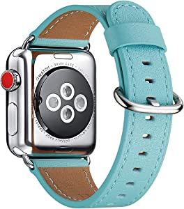 WFEAGL Compatible iWatch Band 38mm 40mm 42mm 44mm, Top Grain Leather Bands of Many Colors for iWatch SE & Series 6,Series 5,Series 4,Series 3,Series 2,Series 1(Tiffany Blue Band+Silver Adapter, 38mm 40mm)