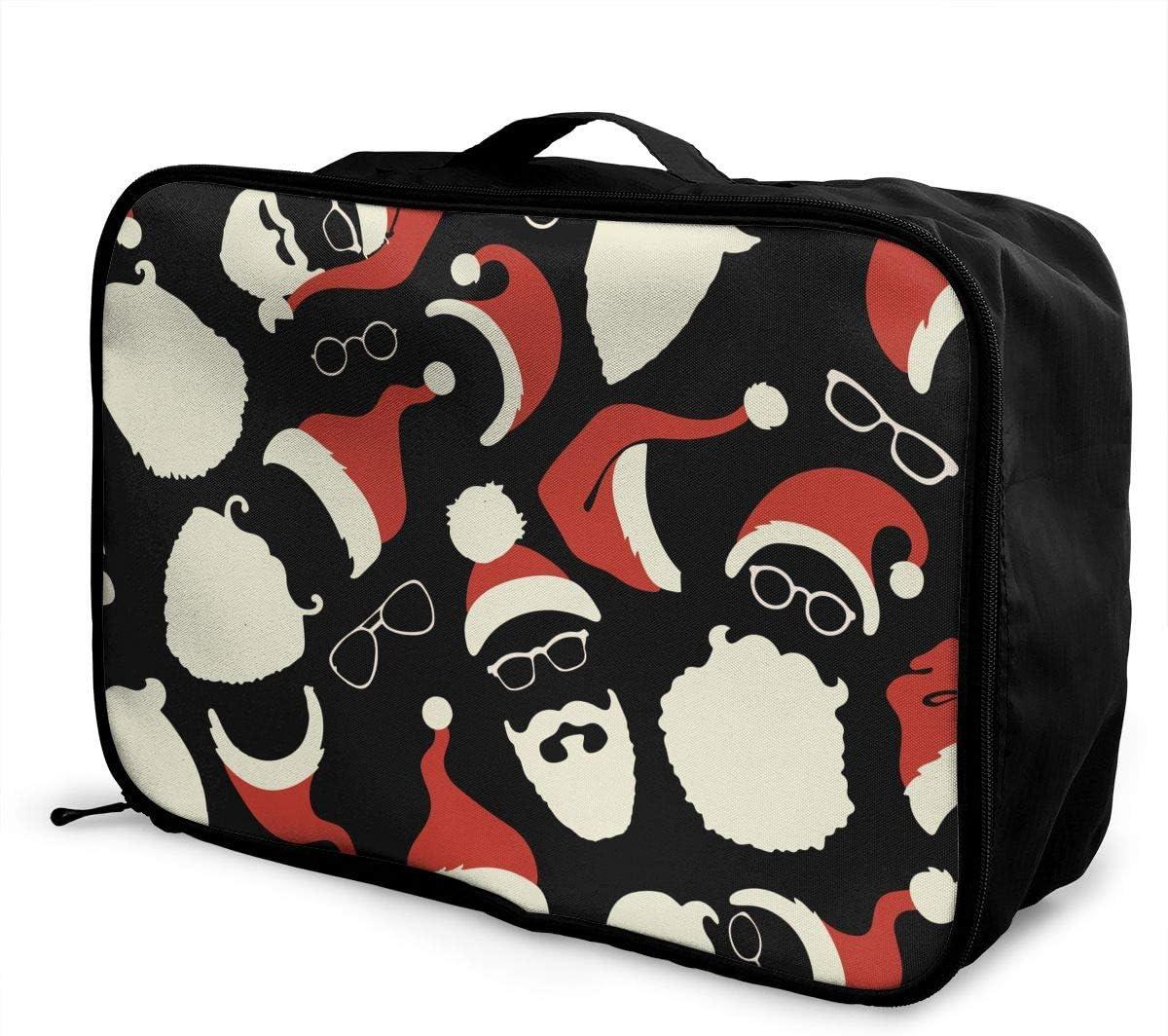YueLJB Santa Hats Beards Eyeglasses Lightweight Large Capacity Portable Luggage Bag Travel Duffel Bag Storage Carry Luggage Duffle Tote Bag