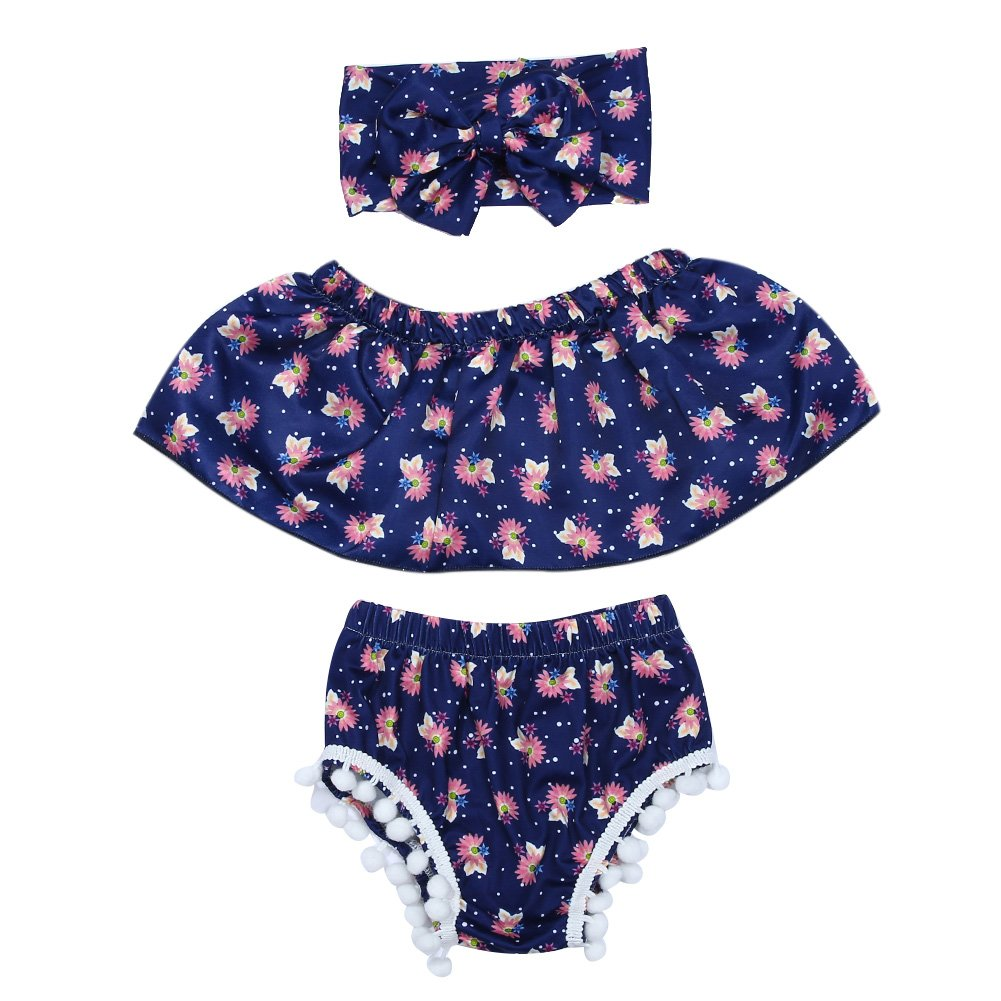 Chinatera 3pcs Newborn Baby Girls Floral Printed Tops+Briefs+Headband Cute Outfit Set