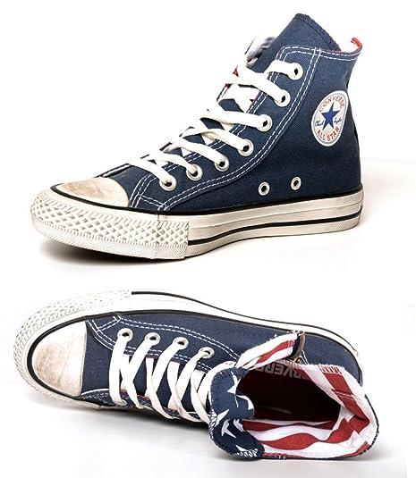38ab26155191 CONVERSE ALL STAR CT SIDE ZIP HI NAVY STARS 137806C sneaker tela alte  unisex (EUR 36 (UK 3.5))  Amazon.it  Scarpe e borse