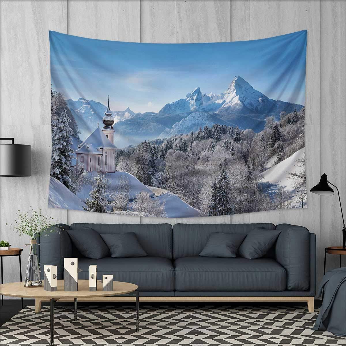 Amazoncom Anhuthree Winter Wall Tapestry Snowy Landscape At Gloomy
