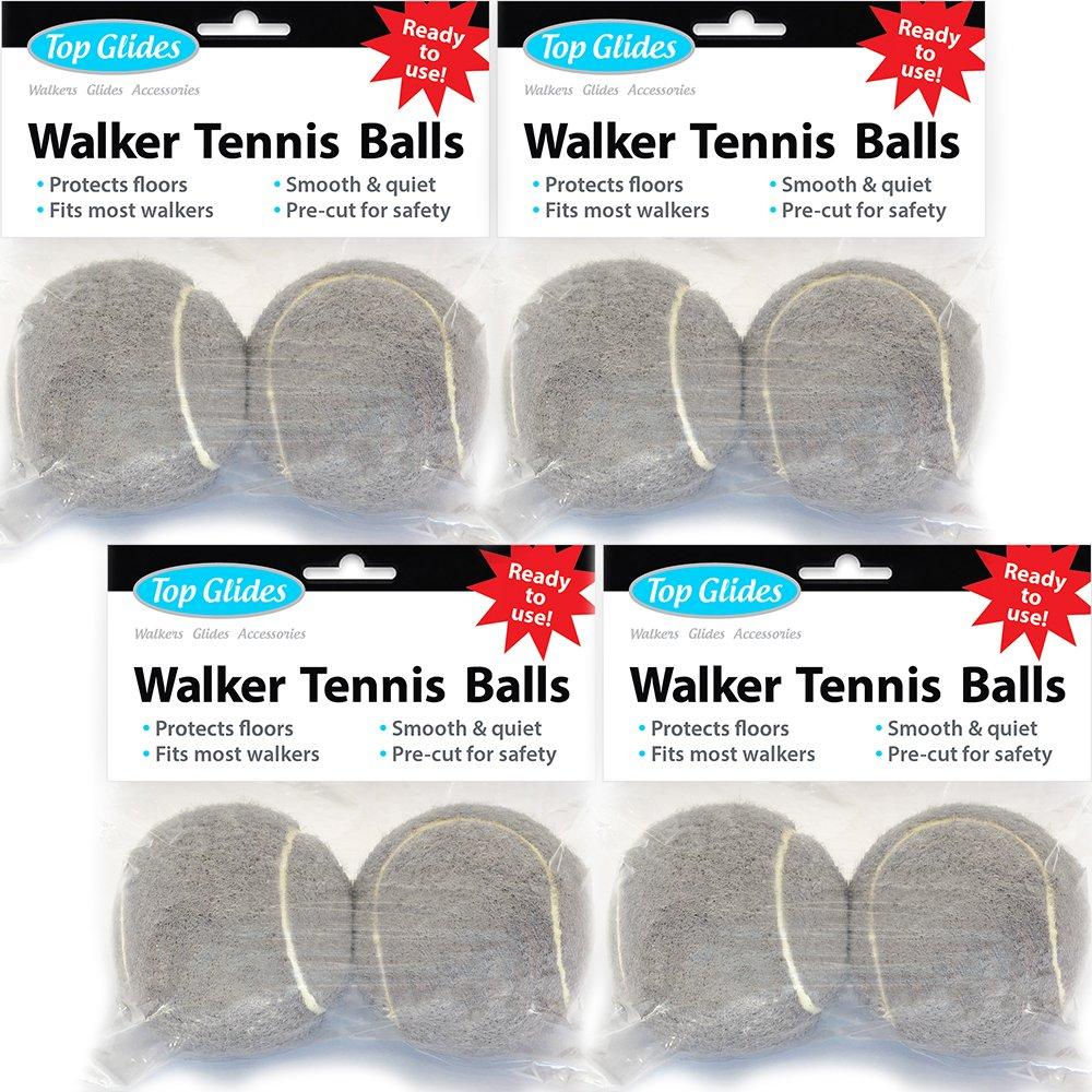 Top Glides Precut Walker Tennis Ball Glides - Gray - 4 Pairs by Top Glides