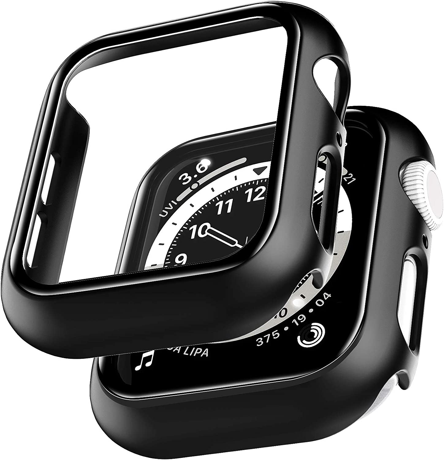 2 Pack LϟK Case for Apple Watch 40mm SE/Series 6/5/4 Built-in Tempered Glass Screen Protector, All-Around Ultra-Thin Bumper Full Cover Hard PC Protective Case for iWatch 40mm - Black