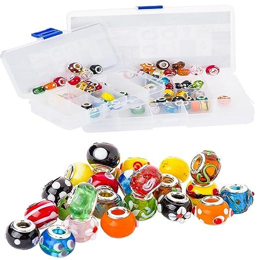 6 opinioni per RKC colorato vetro charm * * * Buy 5A 100pezzi Argento Mix Multicolore tema