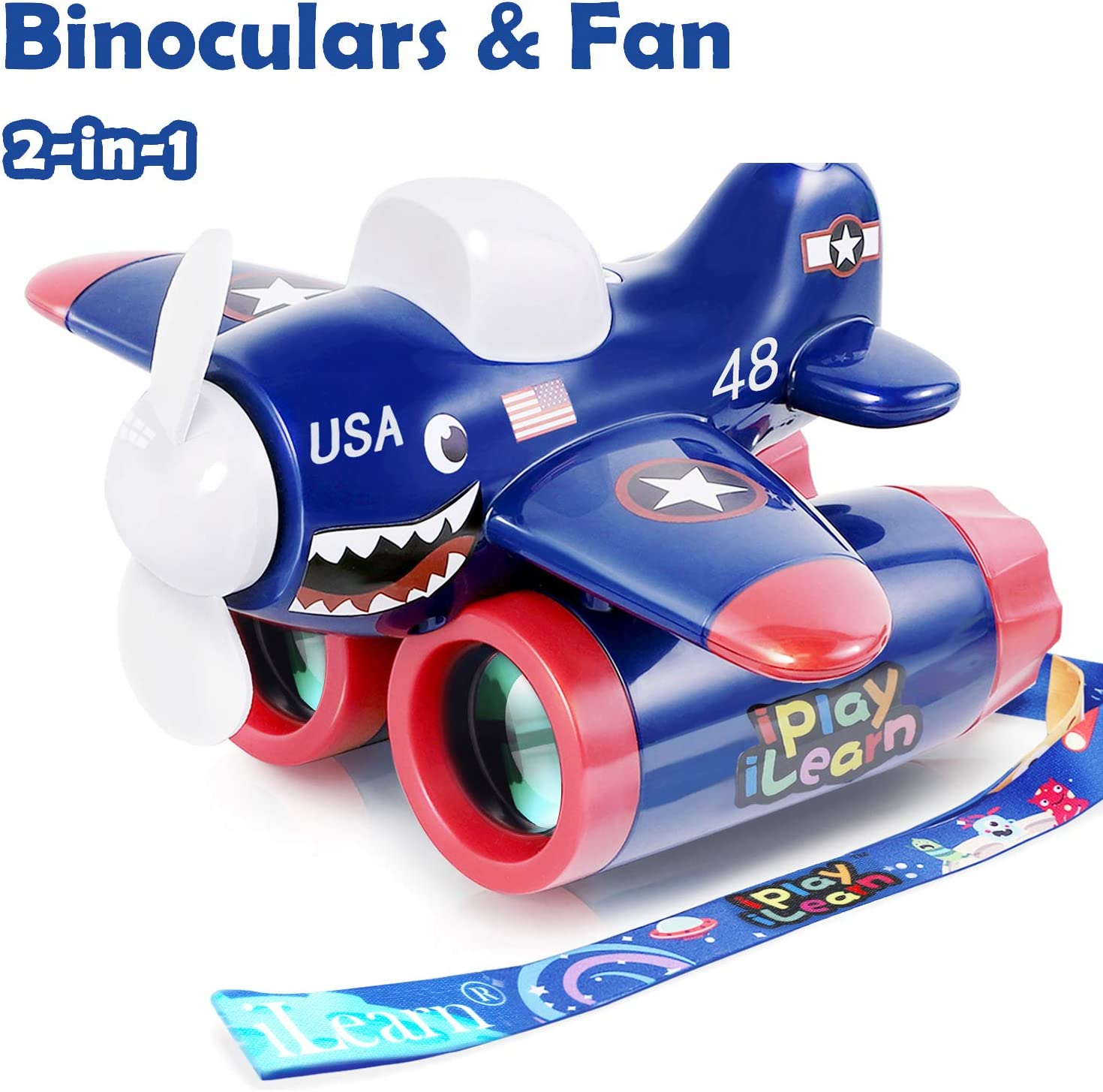 iPlay, iLearn 2 in 1 Kids Binocular & Handheld Fan, Backyard Camping Games, Bird Watching, Nature Explore Learning Kids Airplane Binoculars Toy, Gifts for 3 4 5 6 7 Year Old Boy Girl Toddlers Child
