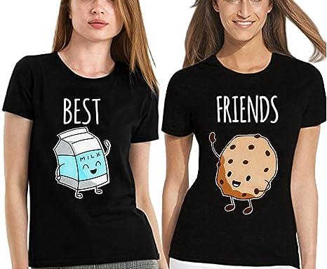 2735483c369 JINT Best Friends Tshirt 2-Pack Women Milk and Cookies Slim Fit Matching  Cute Shirt