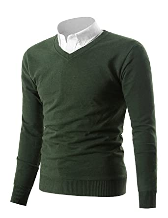 d161ce23157 Mesahara Mens Casual Slim Fit Knit V-Neck Pullover Sweater at Amazon ...